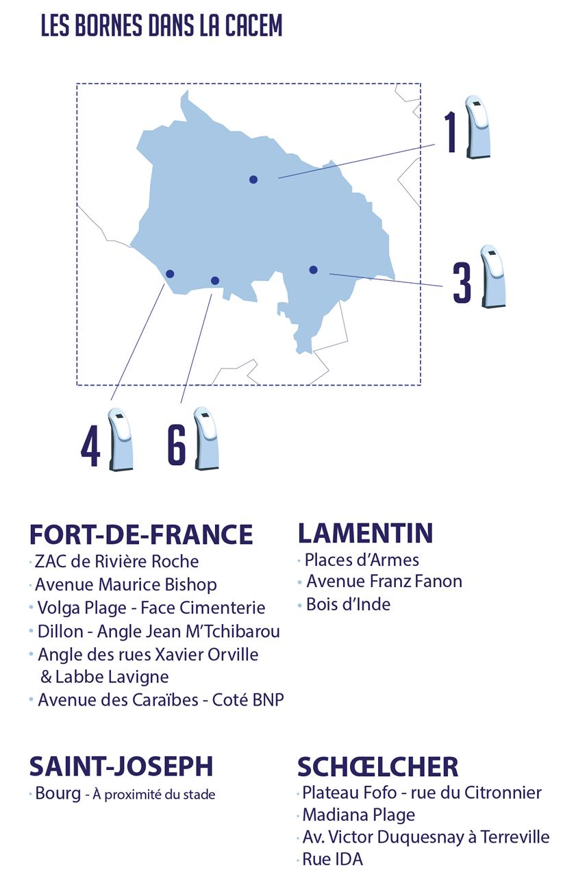 carte des bornes de puisage en Martinique